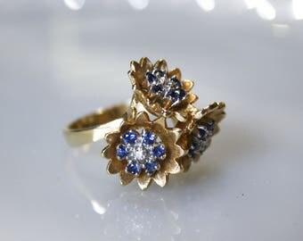 Vintage 1960s Diamond & Sapphire Flower Ring / 14K Gold / Size 6 3/4