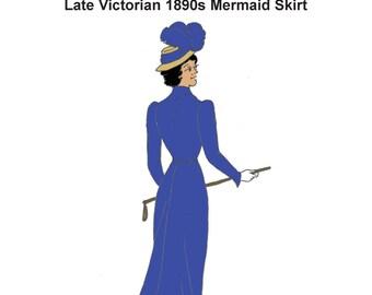 RH948 — Late Victorian and Edwardian Mermaid Skirt