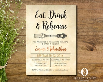 Rehearsal Dinner Invitation, Vintage invitation, Rustic, Engagement Party, DIY, Floral, Retirement Party