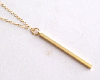 Gold Filled Necklace, Slim Gold Stick Pendant Necklace, Minimalist Necklace, Delicate Necklace, Everyday Jewelry, Bridesmaid Gift