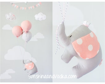 Pink Elephant Baby Mobile Girls Nursery Decor Pink And Grey