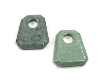 1 Green Jade Stone Gemstone, Trapezoid Stone Pendant, 53mm Natural Stone Pendant, Light Green, Dark Green, Black Speckles, Craft Beading