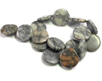 Natural Gray Canyon Marble Stone Coin Beads, Full Strand, Pink, Rusty Red, Gray, 25mm Flat Round Stone Beads, Crafting Beads, Gray Veins