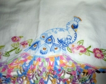 Bed LInens, Pillowcases, Vintage Linens , Pair Pillowcases, Peacocks, Handmade Linens