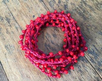 My Heart: Versatile crocheted necklace / bracelet / belt / headband