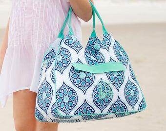 Monogrammed Boho Beach Bag. Monogram pool bag for women. Bridal shower gift, Birthday present. Summer beach tote. Initials bag.