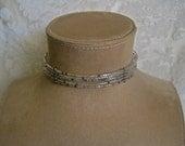 Beaded Choker Memory Wire Multi Strand Aurora Borealis and Hematite Bugle Seed Beads Sparkly Boho Runway Trend