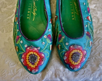 Beaded Flats Embroidered Shoes Vintage 80s Completely Decorated Satin Ballet Style Bright Flowers Sequins Beads GORGEOUS GREEN Boho Hippie