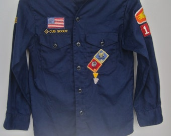 Cub Scout Shirt Navy Blue Vintage Long Sleeve Boy Souts of America Orange County Council CALIFORNIA 1218 Den 4 Bobcat Wolf Patches USA Flag