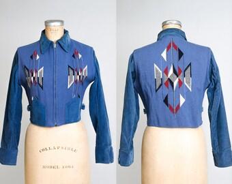 1930s Chimayo Jacket Blue Hand Woven Grommet Zip Wool Crop Jacket