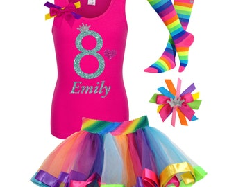 Rainbow 8th Birthday Outfit Rainbow Socks Rainbow Hair Bow Hot Pink Shirt SK8 Birthday Girl Shirt Glow Party Personalized Name Shirt 8