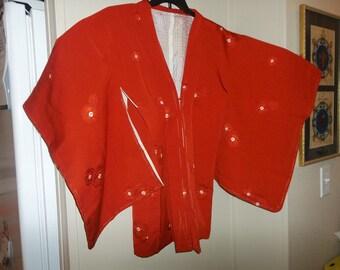 Vintage Japanese Silk Wedding Kimono..Red Snow Crystal Ring Tsunami..New Old Stock..1970Era..Perfect Condition