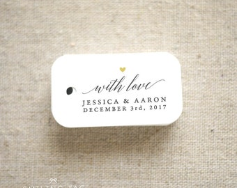 With Love Wedding Favor Tags - Personalized Gift Tags - Bridal Shower - Thank you tags - Party Tags - Favor Bag Tag (Item code: J665)