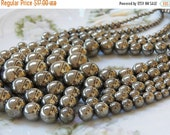 20% off 4-18mm Graduated Pyrite Round Polished Gemstone Beads, 16 Inch Strand (IND4C85)
