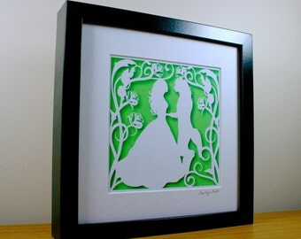 Square Beauty and the Beast Papercut Print • Fairytale Wall Art • Paper Cut Print
