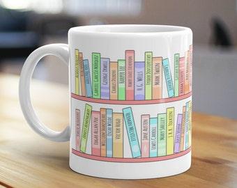 Classics Bookshelf Mug, Unique Coffee Mug, Illustrated Mug, Cute Mug, Gifts for Him, Gifts for Her, Bookish Mug, Book Lover Mug, Library Mug