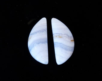 Soft Pastel Blue Lace Agate Designer Cab Matched Pair 10.6x25.1x4.7 mm 17.7 carats Free Shipping