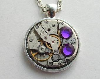 Steampunk  Statement Necklace  Pendant  with Lilac Swarovski Birthday Gift Clockwork Gift for Her Birthday gift Women gift ideas