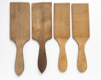 ONE antique vintage ribbed wooden butter paddle, wood kitchenware, vintage serving, vintage wooden kitchen tools
