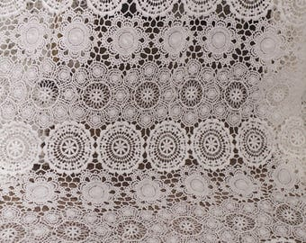 off white cotton lace fabric, guipure lace fabric, crochet lace fabric by the yard,