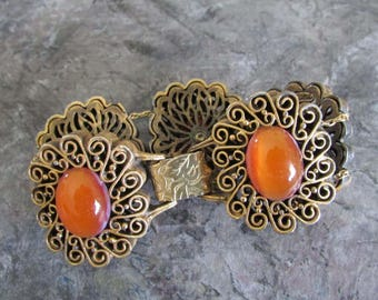 Vintage Tortolani Bracelet Gold Tone Filigree Orange cabochons  1960s Victorian Revival Boho Chic