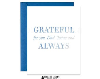 Grateful Father's Day Card Grateful for You Dad Cards Classic Father's Day Cards from children Blue Watercolor Dad's Day Card for Dad CF0006