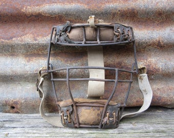 Antique Catchers Face Mask Baseball Equipment 1930s Era Wilson Sports Collectible Baseball Wire Leather Catcher Mask Vintage Baseball Old