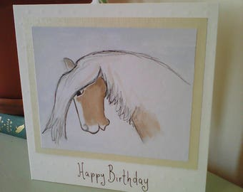 Watercolour horse birthday card, painted horse greetings card, illustrated pony birthday card, horse lover's card, original horse drawing