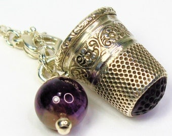 Peter Pan Acorn and Thimble Kisses Necklace In Solid Sterling Silver and Natural Amethyst