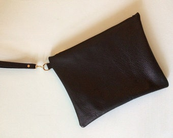 Black leather clutch bag, soft black purse, black evening bag