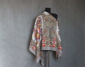 Autumn Lace. Big Russian shawl, huge wrap, gray, traditional paisley flowers,grey gold coral, pure wool fabric, Bohemian, Gipsy dance shawl