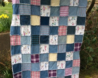 Upcycled Denim Rag Quilt, Ladies on the Town quilt