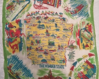 Vintage Hand Rolled Silk State of Arkansas Neck or Decorative Scarf Made in Japan