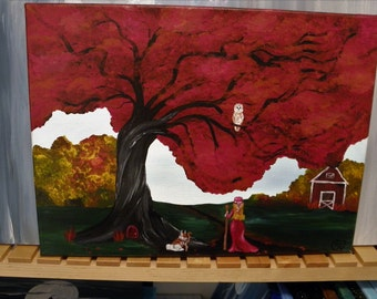 Red autumn painting, fantasy tree art, brilliant fall colors, bunny fantasy painting, red barn art