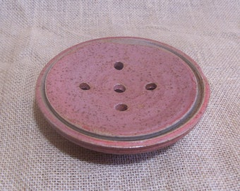 Two part soap dish. Hand thrown in stoneware. Red glaze.