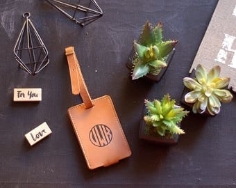 Personalized Leather Luggage Tag, Customized Natural Leather Luggage Tag, Genuine Leather Travel Tag, Baggage Tag