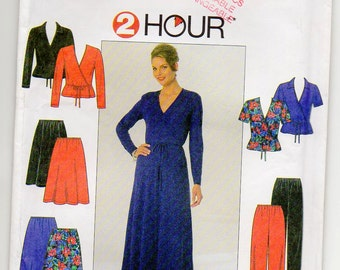 Wrap Top With Tie Ends V Neckline Optional Collar Skirt And Pants Elastic Waist Casing Size 10 12 14 Sewing Pattern 1997 Simplicity 7843