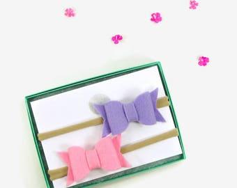 Baby Girl Headbands - Purple and Pink Baby Girl Headbands