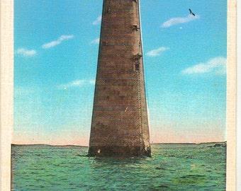 Vintage Postcard, Minot Lighthouse, Boston Harbor, Boston, Massachusetts, ca 1930