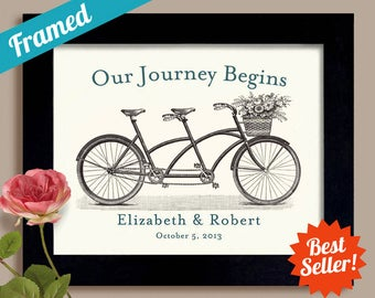 Couples Gift Personalized Names New Engagement Wedding Art Print Bicycle For Two Bride Groom Framed Picture Special Date Shower Present