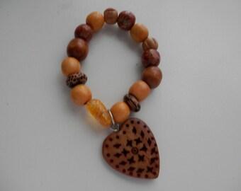 Wooden HEART Stretch Bracelet