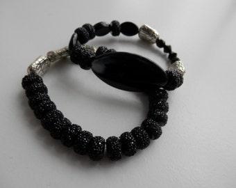 Black CRYSTAL  Duo Stretch Bracelets