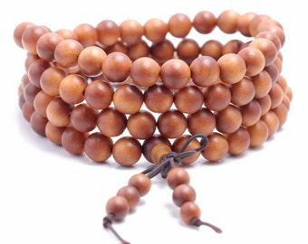 108PCS 8mm Fragrant Australia Barbie Sandalwood Grade A Prayer Buddha Mala Meditation Beads Round Loose Beads (90183363-781)