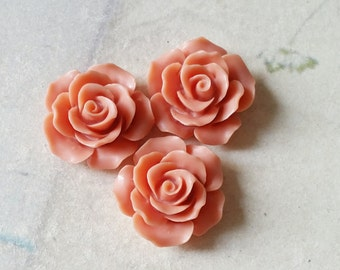 19 mm of Carmine Colour Rose Resin Flower Cabochons (.tu)(zzb)