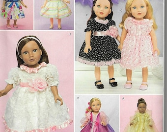 """New Simplicity Pattern #1297Dresses for 18"""" Doll by Faith Van Zanten Uncut Factory Folded"""