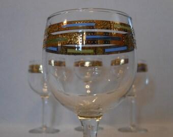 Culver Empress 22Kt Gold Blue Green Vintage Wine Goblets