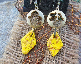 Yellow Earrings, Polymer Clay Jewelry, Gypsy Style Jewelry, Bohemian Style, Dangle Earrings, Clay Earrings, Ethnic Jewelry, Art Deco