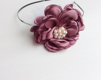 maroon headband baby girl headbands matilda jane headband chiffon flower fabric flower Vintage headband newborn rolled