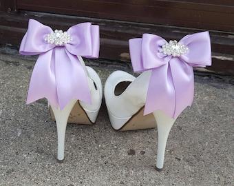 Wedding Shoe Clips,Bridal Shoe Clips,  Rhinestone Shoe Clips, Lilac MANY COLORS, Satin Bow Shoe Clips, Clips for Wedding Shoes, Bridal Shoes