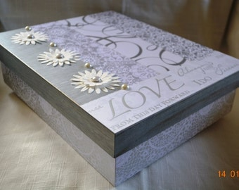 White, Grey, Silver Wedding Memory or Keepsake Box. Ideal gift for Bridal Shower, Engagement, Wedding, 1st Anniversary. Bride and Groom